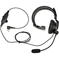PRYMEBLU HLP-SNL-01 Hlp-Snl Series - Lightweight Padded Headset: Rugged Over-The-Head Headset for Portable Radios with Noise-Cancelling Boom Mic & Padded Speaker, Black