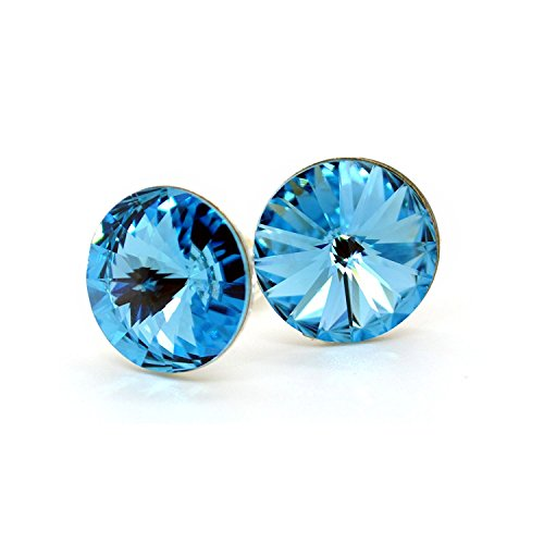 Royal Crystals Sterling Silver Made with Swarovski Crystals Round Circle Aqua Color Blue Stud (Aqua Blue Earrings)