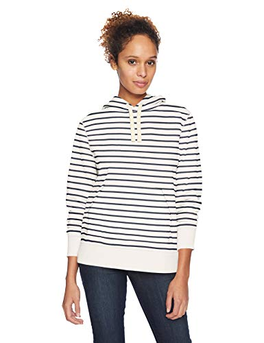 Amazon Essentials Women's French Terry Fleece Pullover Hoodie, White Stripe, Large