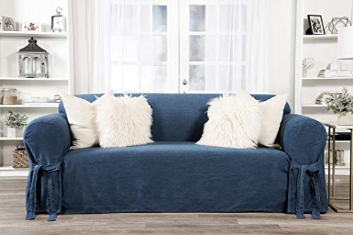 Classic Slipcovers one Piece Sofa Denim slipcover, Blue