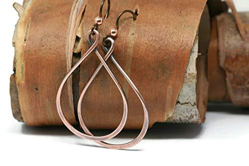 Tear Hoop - Copper Teardrop Hoop Earrings Hypoallergenic 1.5 Inch Tall Antique Finish