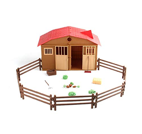 Cinhent Children's Educational Toys, Simulated Playing Model Farm House Children Play House Animal Model Scene Interactive Game Aid Toy for Kids and Parents ()