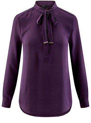 Chemisier Ample avec 8800n Liens Violet Collection oodji Nouer Femme UPxEFF