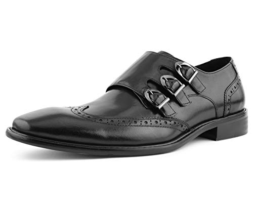 Asher Green Mens Genuine Two-Tone and Solid Leather Dress Shoes, Comfortable Triple Monk Strap Wingtip Oxfords Black