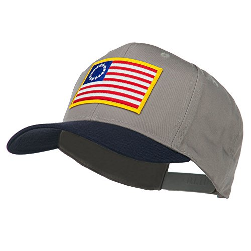 [Betsy Ross Flag Patched Cotton Twill Pro Style Cap - Navy Grey OSFM] (Betsy Ross Hat)