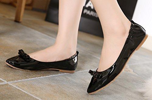 À Dqq Chaussures Plates Nœud Noir Pointu Pour Bout Enfiler Femme qHXSwrH