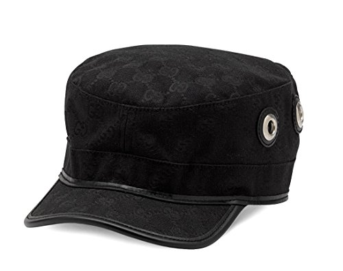 Gucci Original GG Canvas Military Hat, Black 200037 (XL (X-Large)) (Hat Gucci Canvas)