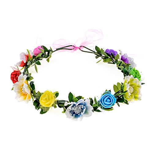 Love Sweety Girls Boho Rose Floral Crown Wreath Wedding Flower Headband Headpiece -
