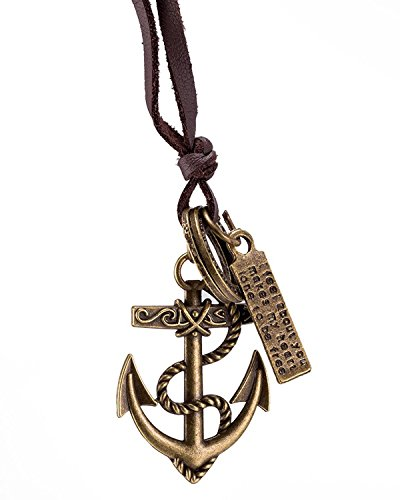 Young & Forever Boy's Valentine -Tastic Collection Brown Leather Anchor Pendant Necklace by Young & Forever