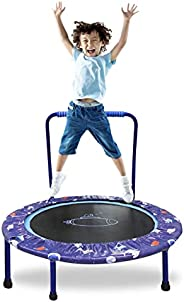 """38"""" Trampoline for Kids Folding Mini Toddler Trampoline with Handle Safety Protective Pad Cover Jumping Mat In"""