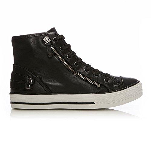 Moda in Pelle Damen Sneaker Schwarz Black Leather Black Leather