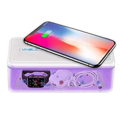 VANELC UV Light Sanitizer Box, Cell Phone Sanitizer, UVC Phone Sanitizer and Charger, Multi-Purpose Germ Sanitizer for Makeup Tools, Toothbrush, Smart Watch, Keys, Remotes & high-Touch Objects