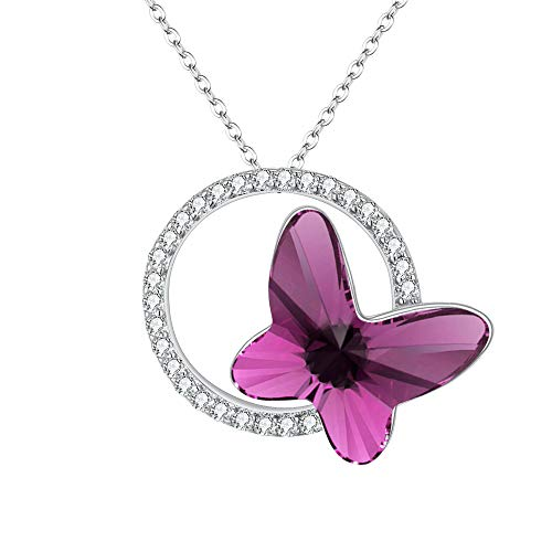 EleQueen 925 Sterling Silver CZ Butterfly Circle Purple Made with Swarovski Crystals Pendant Necklace (Swarovski Pave Circles Necklace)