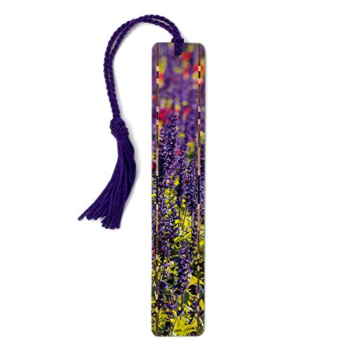 Purple Flowers in London Park - Color Photograph by Mike DeCesare - Wooden Bookmark with Tassel Search B07QC97VJQ for Personalized Version