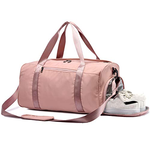 Women Gym Bag with Shoe Compartment,Light Weight Weekender Bag Travel Duffel Bag Sports Swim Bags Overnight Bag for Women Pink