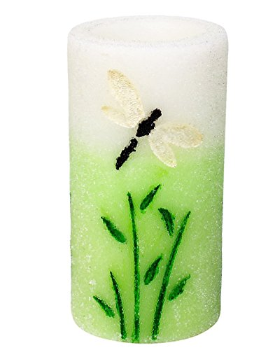 Dragonfly Green (Spring Flameless LED Candle with Timer, Embossed Green Dragonfly and Work with 2 AA Battery)