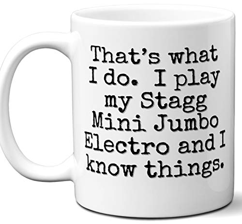Guitar Gifts Mug. Stagg Mini Jumbo Electro Guitar Players Lover Accessories Music Teacher Lover Him Her Funny Dad Men Women Card Pick Musician Acoustic Unique