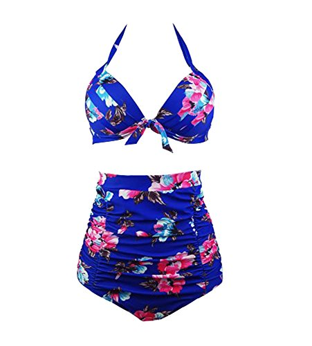 2018 Costume da bagno a vita alta vintage con racchetta da donna vintage anni '50 - Bikini a due punte con fiocco arricciato solido - Costumi da bagno retr