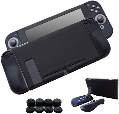 Hikfly Gel de Silicona Agarre Antideslizante Kits de Protección Carcasas Cubrir Piel para Nintendo Switch Consolas y Joy-Con Controlador Con 8pcs Gel de Silicona Empuñaduras Gorras (Negro): Amazon.es: Videojuegos