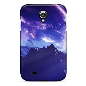New Premium Flip Case Cover Purple Planets Skin Case For Galaxy S4