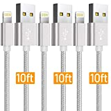 Boost Chargers 3Pack 10 Feet Extra Long Nylon Braided Fast Charging USB Power Charge & Sync Cable Cord Compatible with iPhone XR XS MAX X iPhone 8 8Plus 7 7 Plus 6S 6S Plus 6 Plus 5 SE & More - Silver