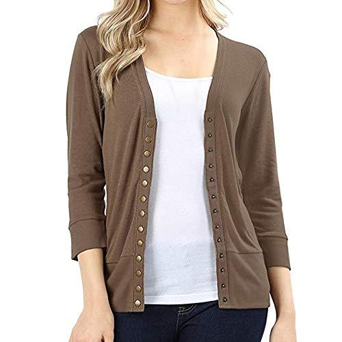 GOVOW Autumn Knitwear Cashmere Cardigan Jacket Womens V-Neck Button Down 3/4 Sleeve Shirt Top(US:8/CN:L,Khaki)
