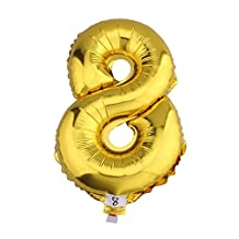 32 inch Gold Helium/Foil Number 8 Balloon