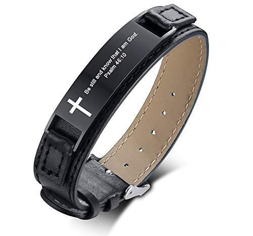 MPRAINBOW Unisex Leather Bracelets Engraved Cross Inspiring Bible Verse Quote,Christian Religious Jewelry Adjustable (Unisex Leather Genuine Bracelet)