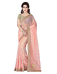 Shonaya Women's Party Wear Patch Work Saree with Unstitched Blouse Piece