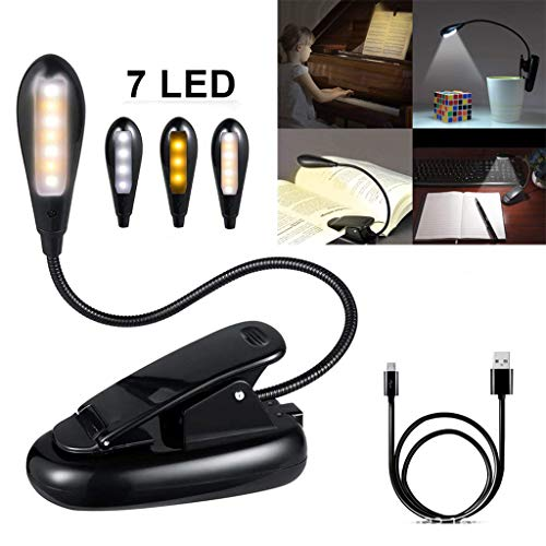 ️ Yu2d ❤️❤️ ️Rechargeable 7 LED Book Light Easy Clip On Reading Lights for Reading Eye-Care -