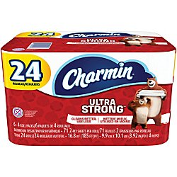 Charmin 2-Ply Bathroom Tissue, Ultra Strong, White, 71 Sheets Per Roll, Pack Of 24 Rolls