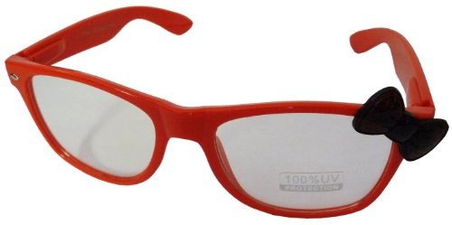 Hello Kitty Classic Wayfer Style Designer Inspired Clear Lens Glasses with Cute Bow Design - Red w/ Turtle Shell - Turtle Ray Shell Bans
