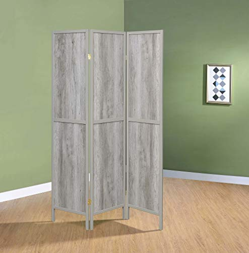 (Coaster 3 Panel Room Divider in Driftwood Gray)