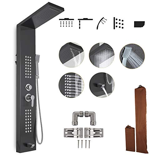 - Happybuy Shower Panel Tower System Stainless Steel Multi-Function Shower Panel with Spout Rainfall Waterfall Massage Jets Tub Spout Hand Shower for Home Hotel Resort Split Type Black (Split, Black)