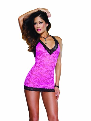 Dreamgirl Women's Delicious Delight T-Back Chemise And Thong, Fuchsia/Black, One Size by Dreamgirl
