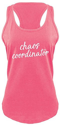 Ladies Racerback Tank Chaos Coordinator Hot Pink with White Print 2XL Cha Tank