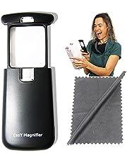 EasY Magnifier Leesloep zwart 3-voudig met helder ledlicht; beste kleine lichte vergrootglas met beschermde vierkante acryl lens; verlicht vergrootglas voor het lezen van kranten boeken voor onderweg; handloep een ideaal geschenk als leeshulp