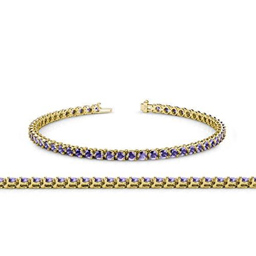 - TriJewels Iolite 2.8mm 3-Prong Tennis Bracelet 3.68 ct tw in 14K Yellow Gold