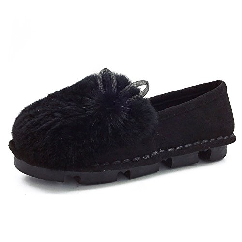 Btrada Womens Winter Warm Moccasins Slipper Cute Bunny Pom Pom Indoor Outdoor Driving Moccasins Shoes Black