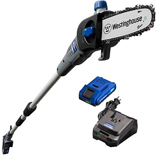 - Westinghouse Cordless Pole Saw, 2.0 Ah Battery and Rapid Charger Included