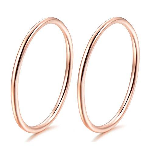 Sterling Mens Bands Gold (Kokoma 2Pcs Sterling Silver Band Rings (Rose Gold, 6))
