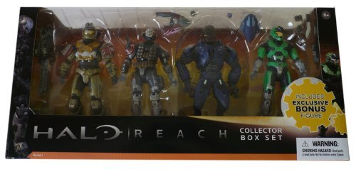 Halo Reach McFarlane Toys Series 1 Exclusive Action Figure 4Pack Collector Box Set Jorge, Emile, Elite Minor GREEN Spartan Mark V by Unknown