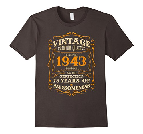 Mens Legends Vintage Made In 1943 75th Birthday Gift 75 years old XL Asphalt