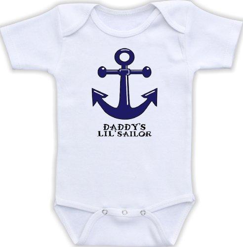 Navy Sailor Short Anchor (DoozyDesigns Daddy's Lil Sailor - Cute Sailor Baby Bodysuit (Newborn Short Sleeve Bodysuit, Navy Blue Anchor))