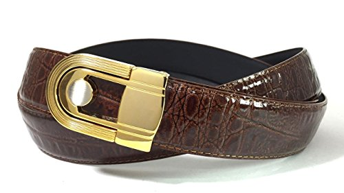 EDNA Bonded Leather Baby Crocodile Skin Print Dress Belt Brown (Gold Crocodile Belt)
