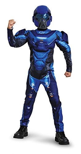 [Disguise Spartan Classic Muscle Halo Microsoft Costume, Small/4-6, Blue] (Classic Childrens Book Costumes)
