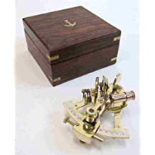 Solid Brass Small Sextant -Wooden Box - Nautical Navigation Collection