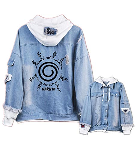 - GO2COSY Anime Naruto Cosplay Uchiha Sasuke Jacket Sweatshirt Denim Fleeces Costume Hoodie
