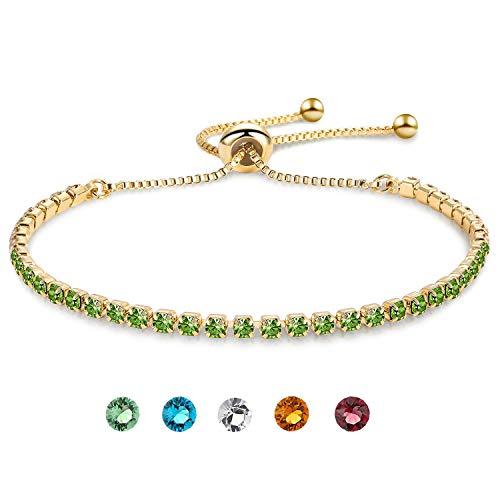 Gold Tone Bracelet Rhinestone - Zealmer Olive Green Rhinestone Bolo Bracelet Yellow Gold Tone