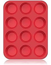 SUPER KITCHEN Grote muffinvorm van siliconen voor 12 muffins, anti-aanbaklaag, bakvorm voor cupcakes, brownies, cake, pudding 33 x 25 x 3 cm (rood)